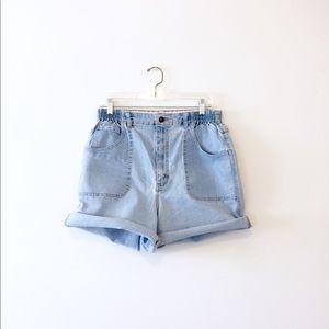 Vtg 90s Light Wash Denim Elastic Jean Shorts XL